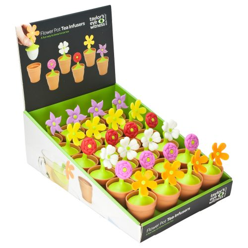 Flower Pot Silicone Tea Infusers CDU of 24 Pieces