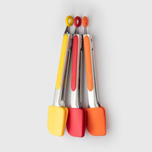 Stainless Steel Silicone Tongs CDU of 12 Pieces