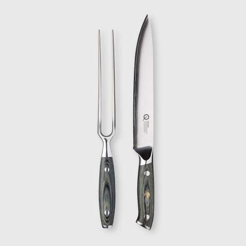 Quantum Q30 Series 2 Piece Damascus Steel Carving Knife & Carving Fork Set
