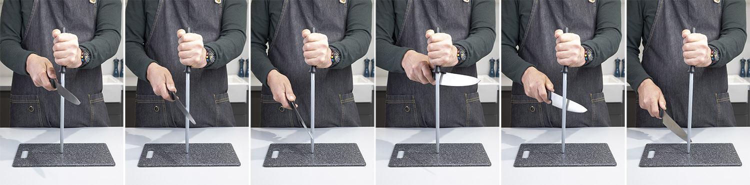 Using a sharpening steel